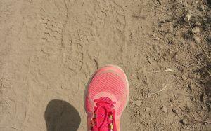 close up of Cristen Iris running shoe on dirt trail