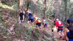 trail running racers navigating a switchback on a steep mountain trail
