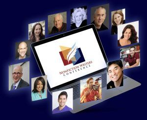 Nonfiction Writers Conference promo image laptop in middle and images of guest speakers floating around it