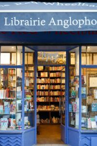 entrance to an independent bookstore with view in to see books on shelves